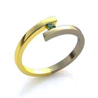 Small Gold diamond ring 3D Printing 140819