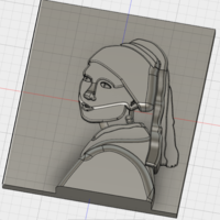 Small The Girl with the Pearl Earring (Vermeer) 3D Printing 140859