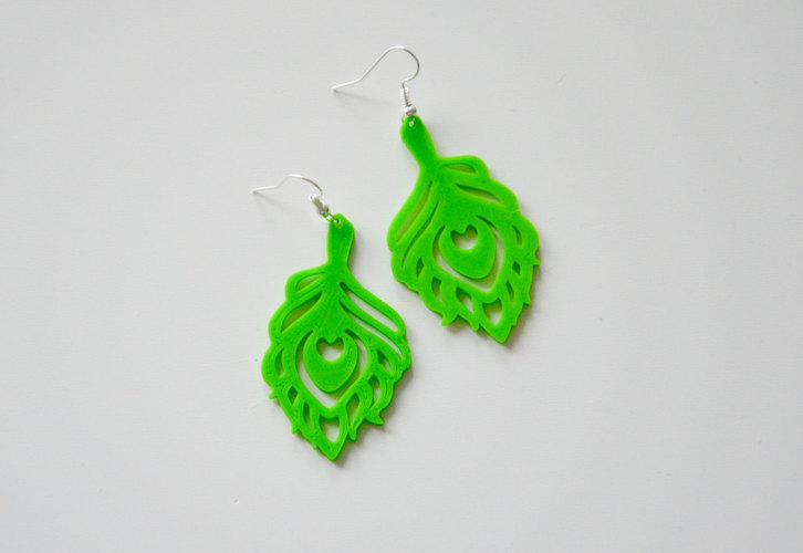 Peacock earings 3D Print 141133