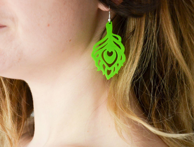 Peacock earings 3D Print 141135
