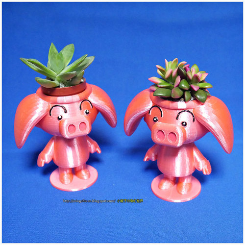 Cute animal - Rose pig potted 3D Print 141174