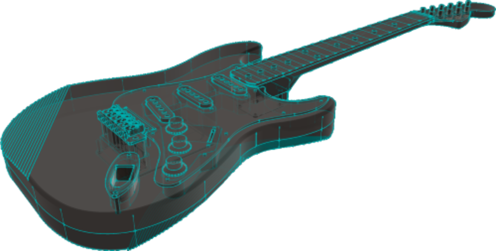 Fender Stratocaster in perfect scale 1:4, fully 3D printable 3D Print 141294