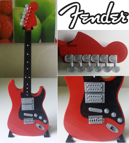 Fender Stratocaster in perfect scale 1:4, fully 3D printable 3D Print 141295