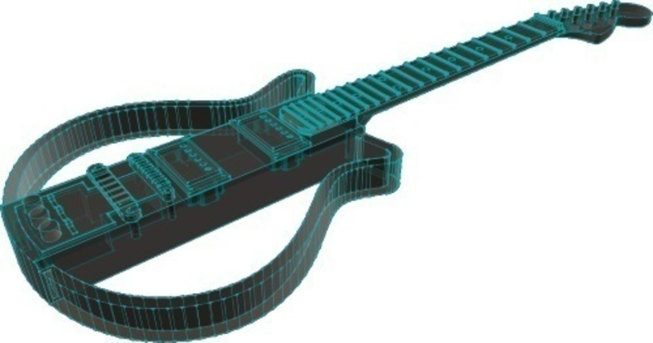 Electric guitar in scale 1:4, fully 3D printable 3D Print 141297
