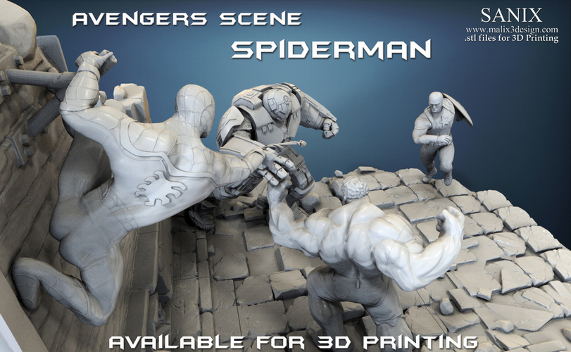 Avengers scene - SPIDERMAN / 3D Printable Model  3D Print 141634