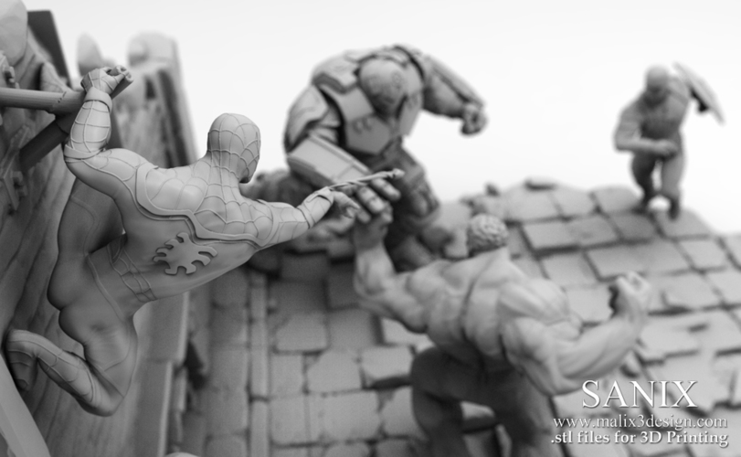 Avengers scene - SPIDERMAN / 3D Printable Model  3D Print 141637