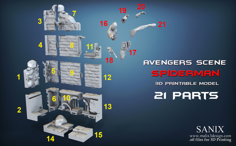 Avengers scene - SPIDERMAN / 3D Printable Model  3D Print 141648