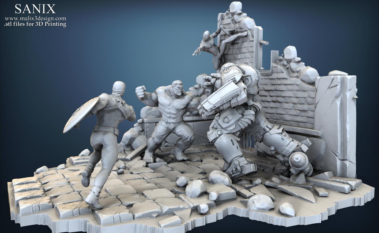 3d printed avengers scene spiderman 3d printable model by sanix3 pinshape