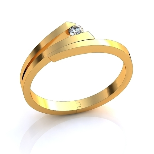 Diamond ring gold 3D Print 141769
