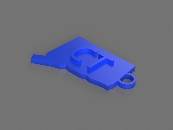 Medium Connecticut Key Chain 3D Printing 141808