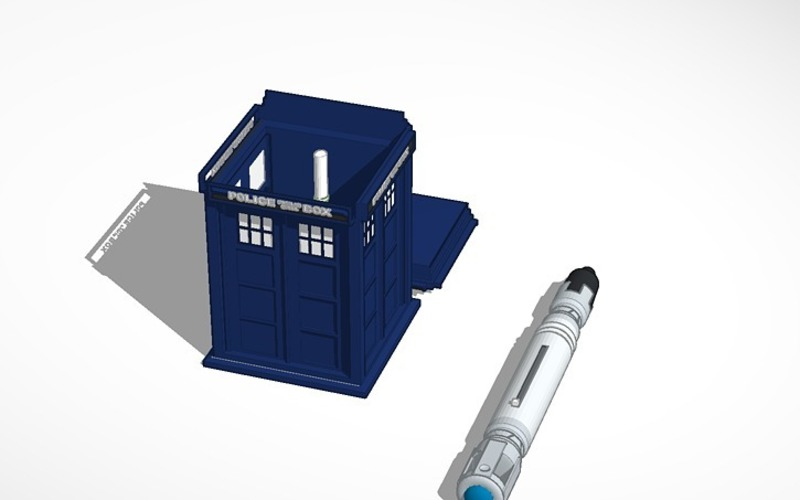 a whovian's dream tardis with console inside and sonic screwdriv 3D Print 14184