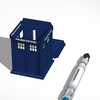 Small a whovian's dream tardis with console inside and sonic screwdriv 3D Printing 14184