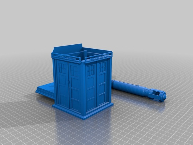 a whovian's dream tardis with console inside and sonic screwdriv 3D Print 14185
