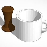Small mug and coffee tamper 3D Printing 14189