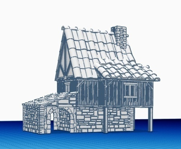 Medieval House 1 , for warhammer or other game - Wargame scenery 3D Print 142210
