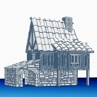 Small Medieval House 1 , for warhammer or other game - Wargame scenery 3D Printing 142210
