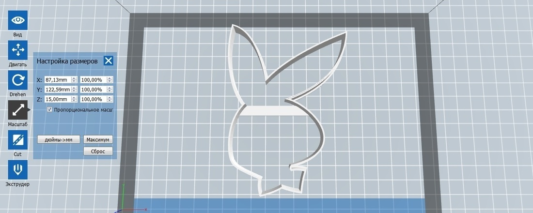 Bunny Playboy cookie cutter for professional 3D Print 142747