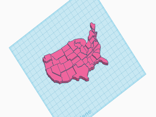 USA Braille Map: Feel The World 3D Print 142977