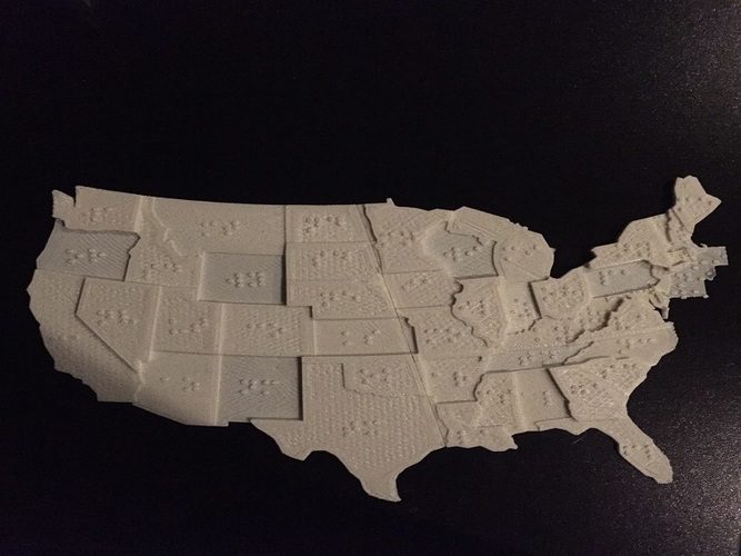 USA Braille Map: Feel The World 3D Print 142979