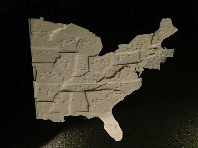 USA Braille Map: Feel The World 3D Print 142984