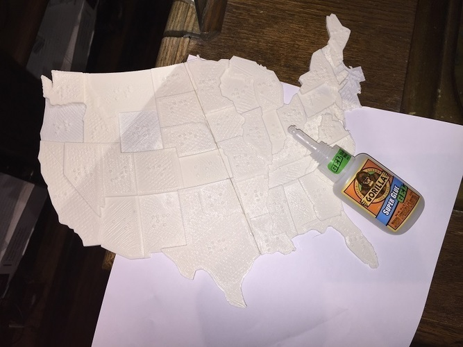 USA Braille Map: Feel The World 3D Print 142986