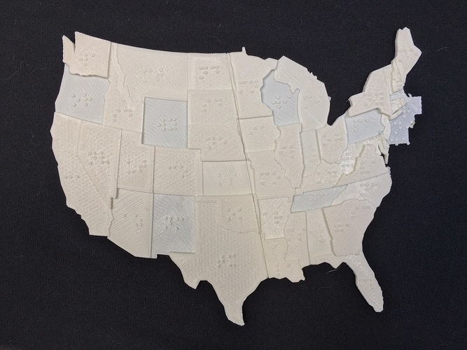 USA Braille Map: Feel The World 3D Print 142987