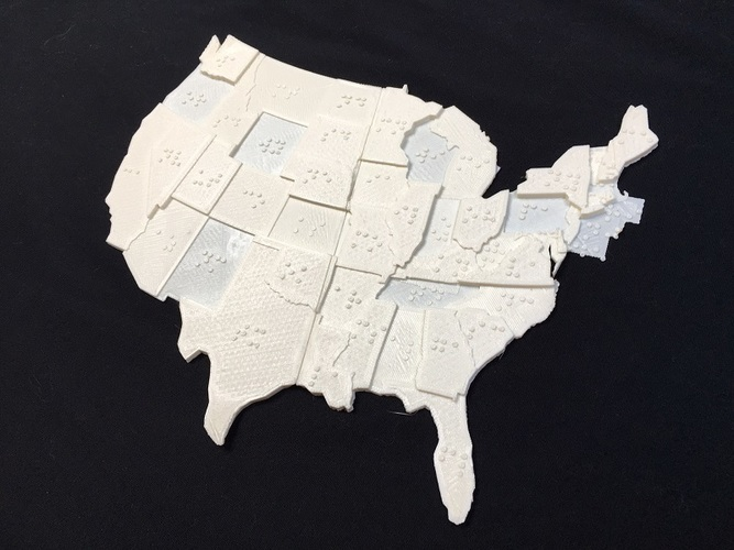 USA Braille Map: Feel The World 3D Print 142988