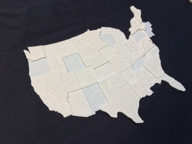 USA Braille Map: Feel The World 3D Print 142989