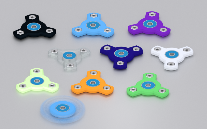 Three Spoke Fidget Spinner 3D Print 143001