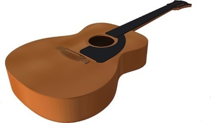 Acoustic guitar in scale 1:4, fully 3D printable 3D Print 143172