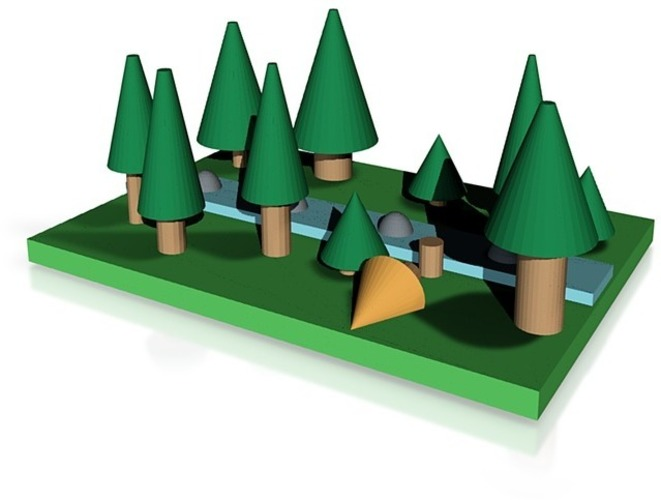 pine forest  with river 3D Print 14338