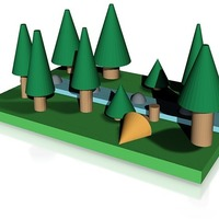 Small pine forest  with river 3D Printing 14338