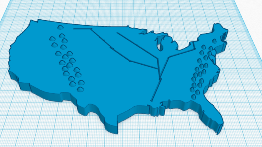Geographic Map of The USA 3D Print 143380