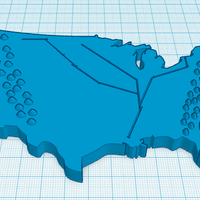 Small Geographic Map of The USA 3D Printing 143380