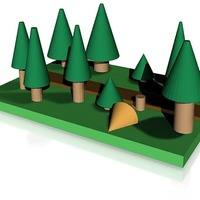 Small pine forest with path 3D Printing 14340