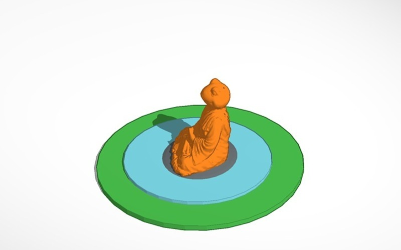 meditating frog in pond on rock 3D Print 14345