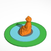 Small meditating frog in pond on rock 3D Printing 14345
