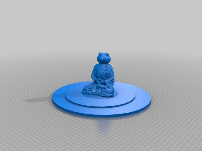 meditating frog in pond on rock 3D Print 14346