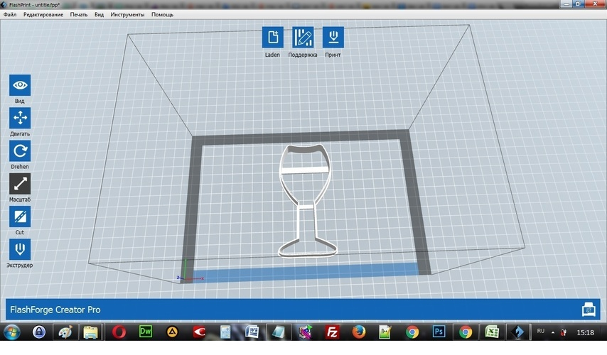 Glass of champagne cookie cutter for professional 3D Print 143504