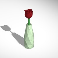 Small rose in a vase 3D Printing 14353