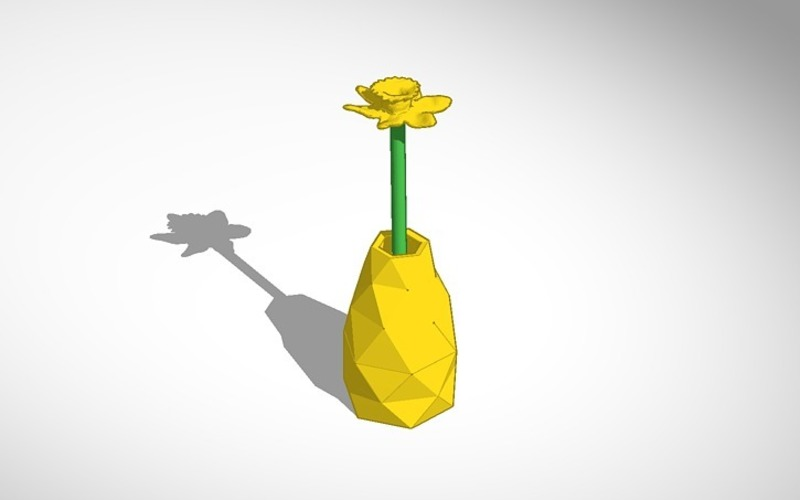 3d Printed Daffodil In Vase By Neoqueensarenity Pinshape