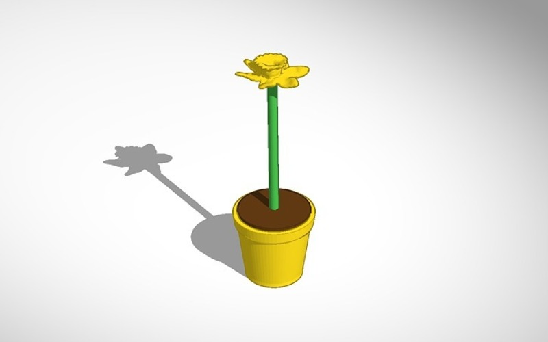 daffodil in yellow pot 3D Print 14365
