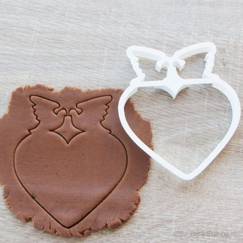 Heart with doves cookie cutter for professional 3D Print 144576