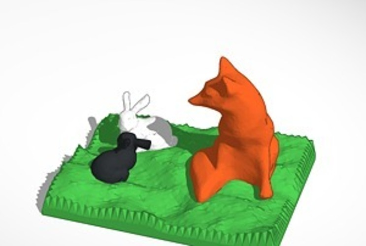 fox watching two bunnies 3D Print 14533