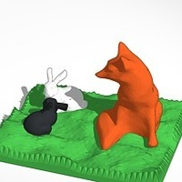 Small fox watching two bunnies 3D Printing 14533