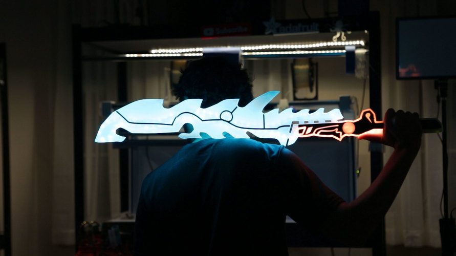 Zelda: Breath of the Wild – Guardian Sword with NeoPixel LEDs 3D Print 145343