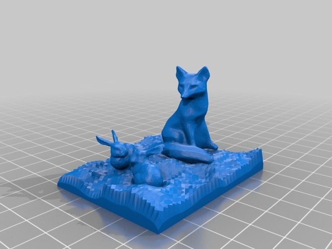 fox watching two bunnies 3D Print 14537