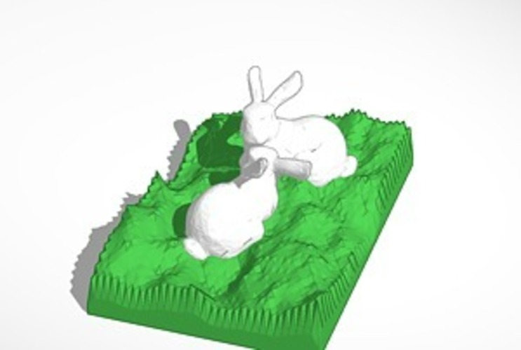 two bunnies looking at each other 3D Print 14539