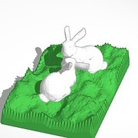 Small two bunnies looking at each other 3D Printing 14539