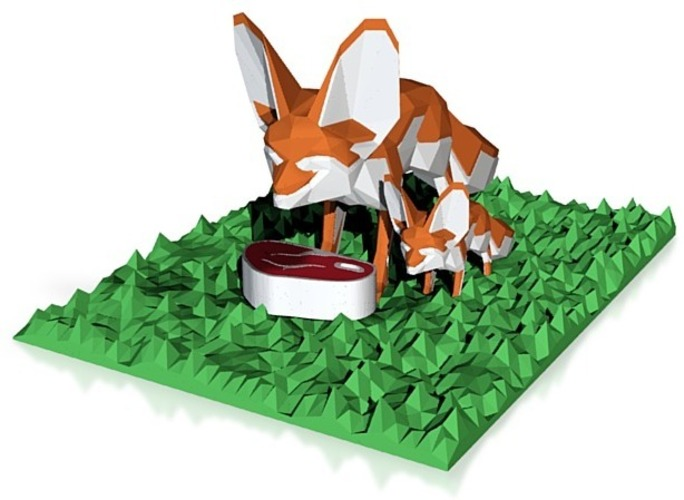 2 fennec foxes enjoying a steak in zoo 3D Print 14601